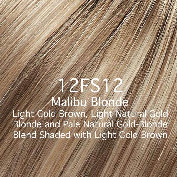 12FS12 Malibu Blonde - Light Gold Brown, Light Natural Gold Blonde and Pale Natural Gold-Blonde Blend Shaded with Light Gold Brown