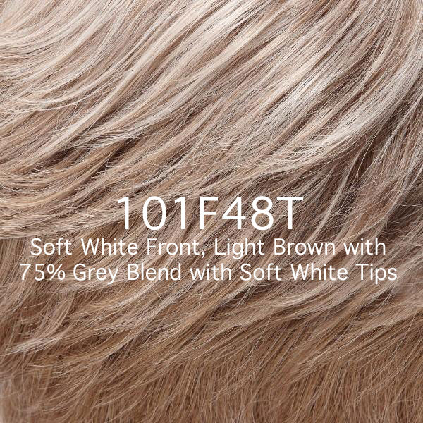 101F48T Soft White Front, Light Brown with 75% Grey Blend with Soft White Tips
