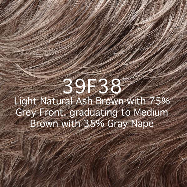 39F38 Light Natural Ash Brown with 75% Grey Front Graduating to Medium Brown with 35% Grey Nape