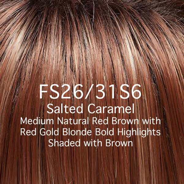 FS26/31S6 Salted Caramel - Medium Natural Red Brown with Red gold Blonde Bold Highlights Shaded with Brown