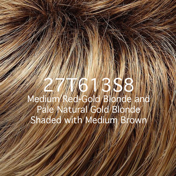 27T613S8 Medium Red-Gold Blonde and Pale Natural Gold Blonde Shaded with Medium Brown
