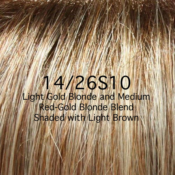 14/26S10 Light Gold Blonde and Medium Red-Gold Blonde Blend Shaded with Light Brown
