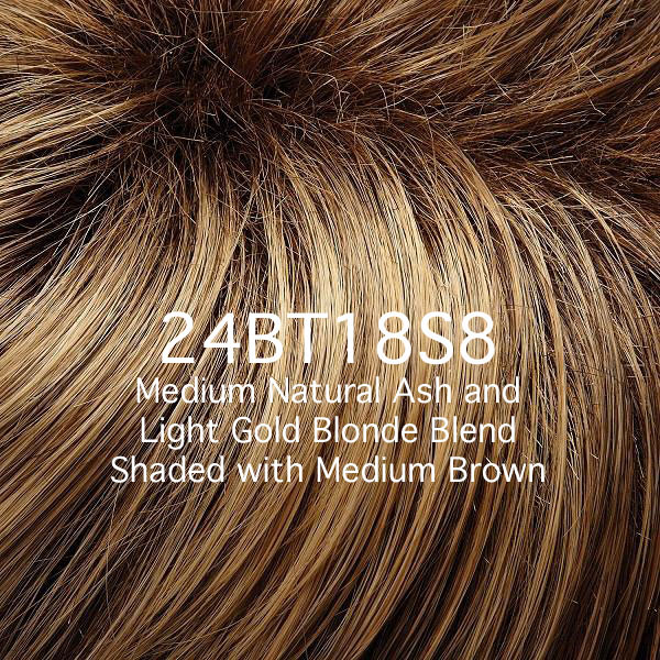 24BT18S8 Medium Natural Ash and Light Gold Blonde Blend Shaded with Medium Brown
