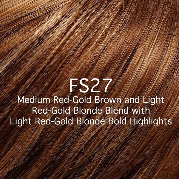 FS27 Medium Red-Gold Brown and Light Red-Gold Blonde Blend with Light Red-Gold Blonde Bold Highlights
