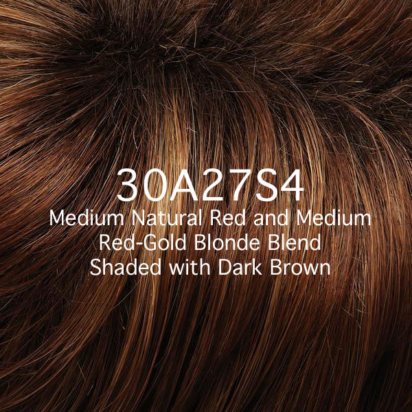 30A27S4 Medium Natural Red and Medium Red-Gold Blonde Blend Shaded with Dark Brown