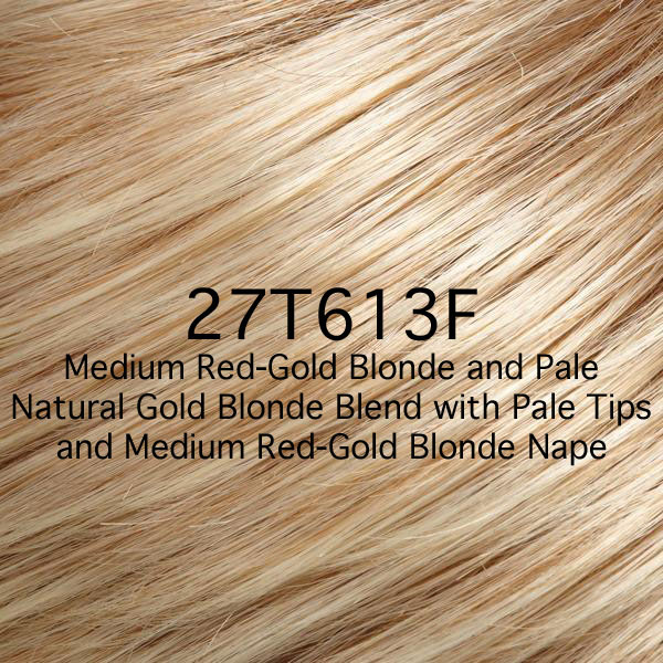 27T613F Medium Red-Gold Blonde and Pale Natural Gold Blonde Blend with Pale Tips and Medium Red-Gold Blonde Nape