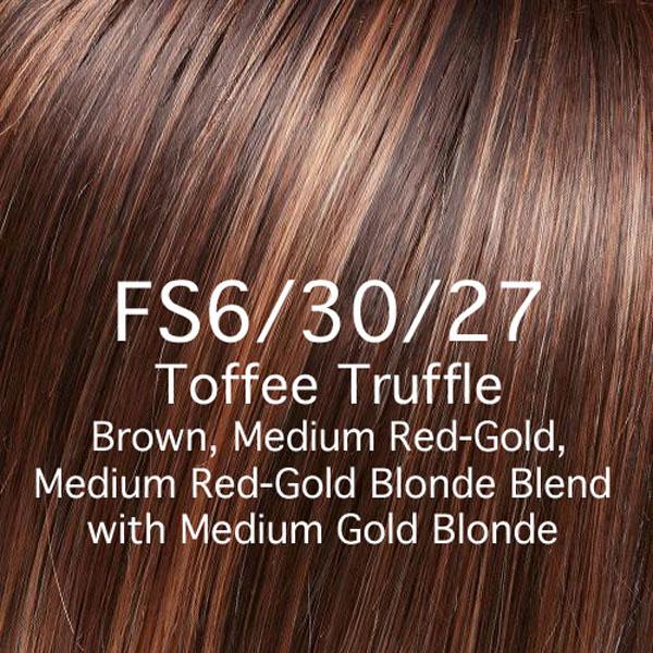 FS6/30/27 Toffee Truffle Brown, Medium Red-Gold, Medium Red-Gold Blonde Blend with Medium Gold Blonde