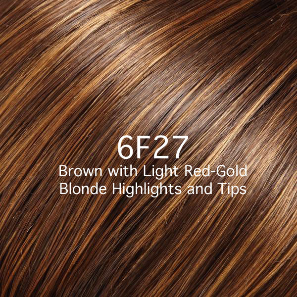 6F27 Brown with Light Red-Gold Blonde Highlights and Tips