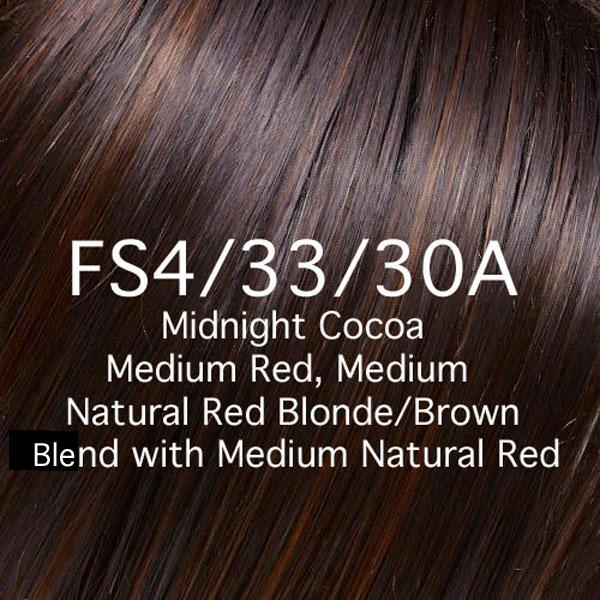 FS4/33/30A Midnight Cocoa Medium Red, Medium Natural Red Blonde/Brown Blend with Medium Natural Red